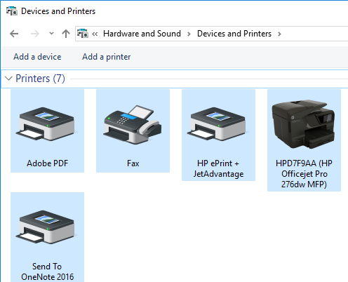 Printers in Control Panel